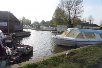 View along the Staithe at Stalham toward the River Ant