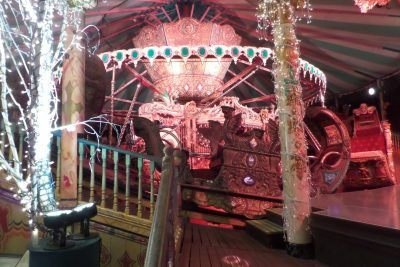 This carousel was beside the far end of the stage and was actually used as part of the show on several occasions with performers riding around it.