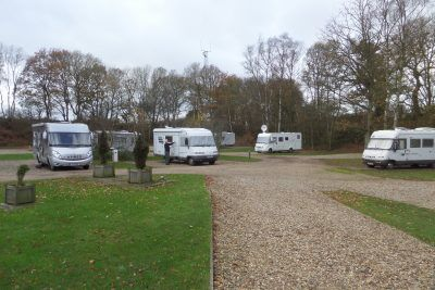 Bertie on site amongst his new Hymer friends at the Old Brick Kilns campsite