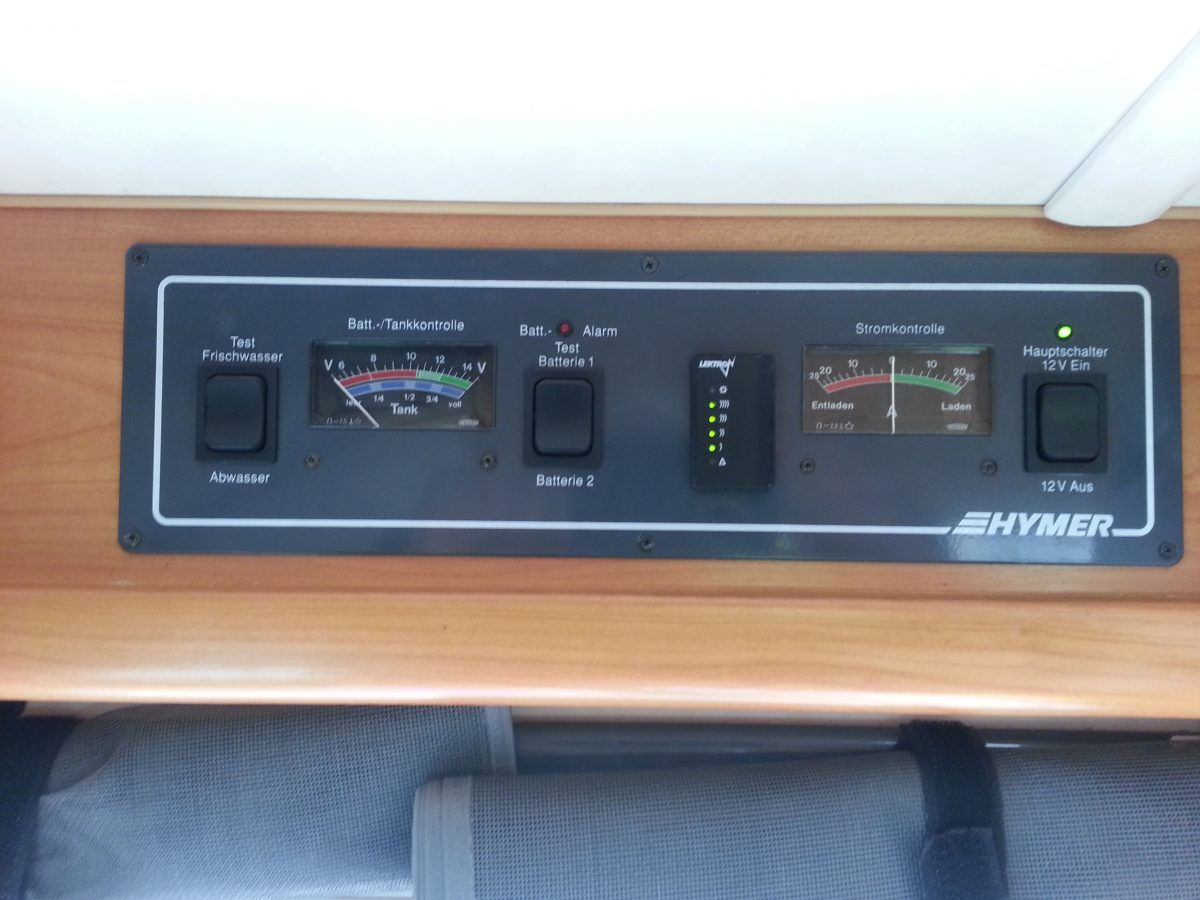 Hymer control panel showing the LPG level guage