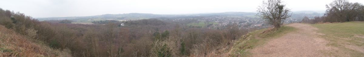 Panoramic view from the hill fort on the top of Kinver Edge above the cave houses