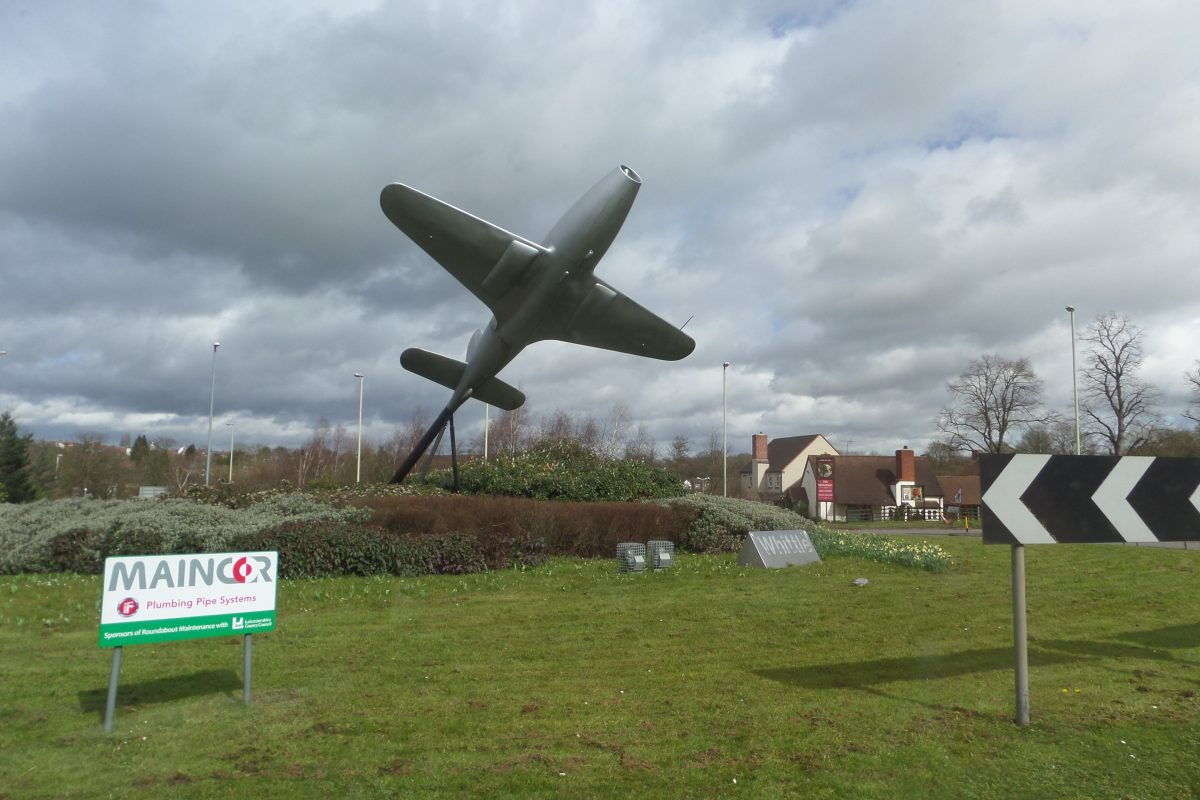 Frank Whittle memorial in the roundabout just south of Lutterworth