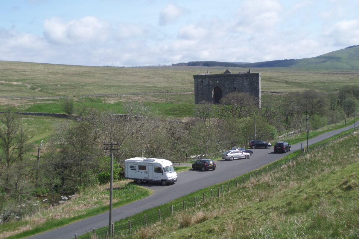 Bertie parked at Hermitage Castle