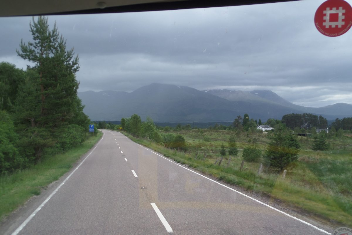 Driving the Great Glen with Ben Nevis in the distance