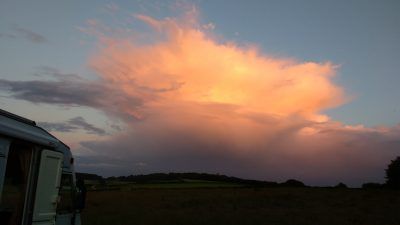 Sunset on cloud at Riber View Cafe and Farm Shop near Matlock