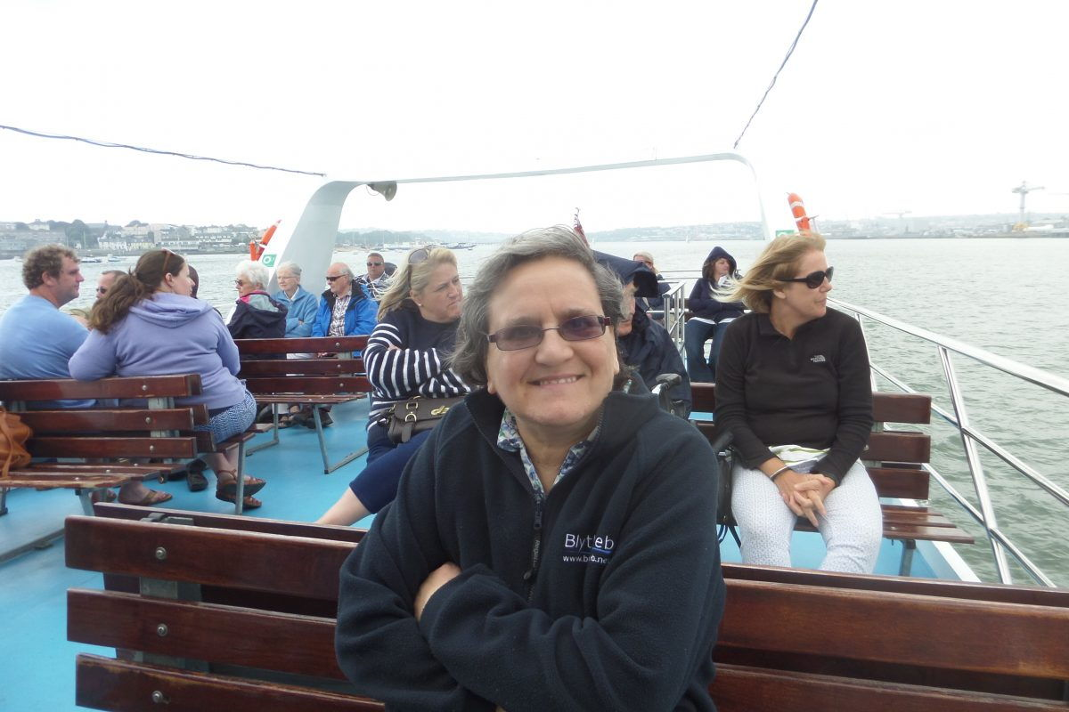Eileen enjoying a bracing boat trip around Plymouth Harbour