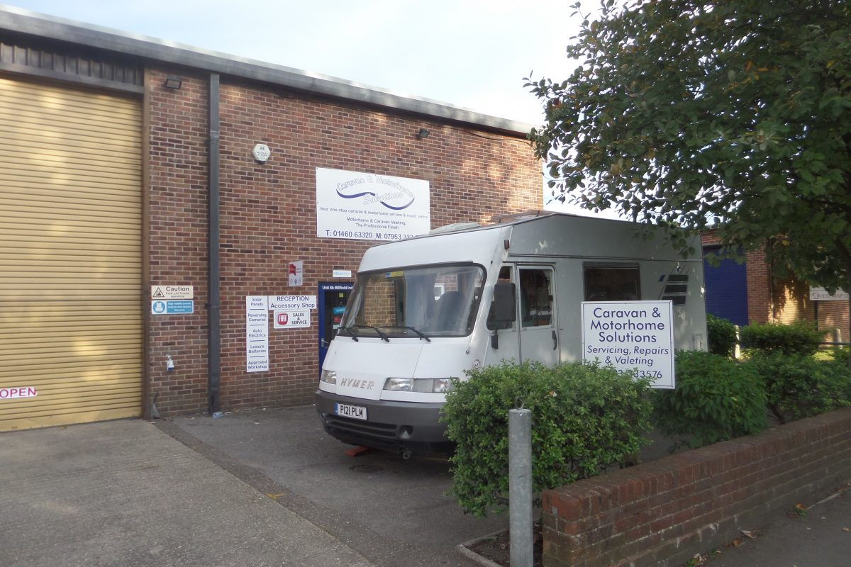 Bertie at Caravan & Motorhome Solutions at Chard - our Britstop on Tuesday.