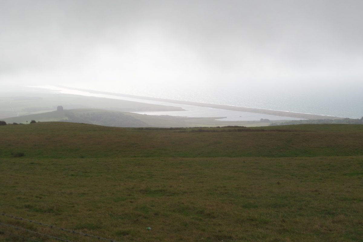 The northern end of Chesil Beach seen from hill above Abbotsbury.