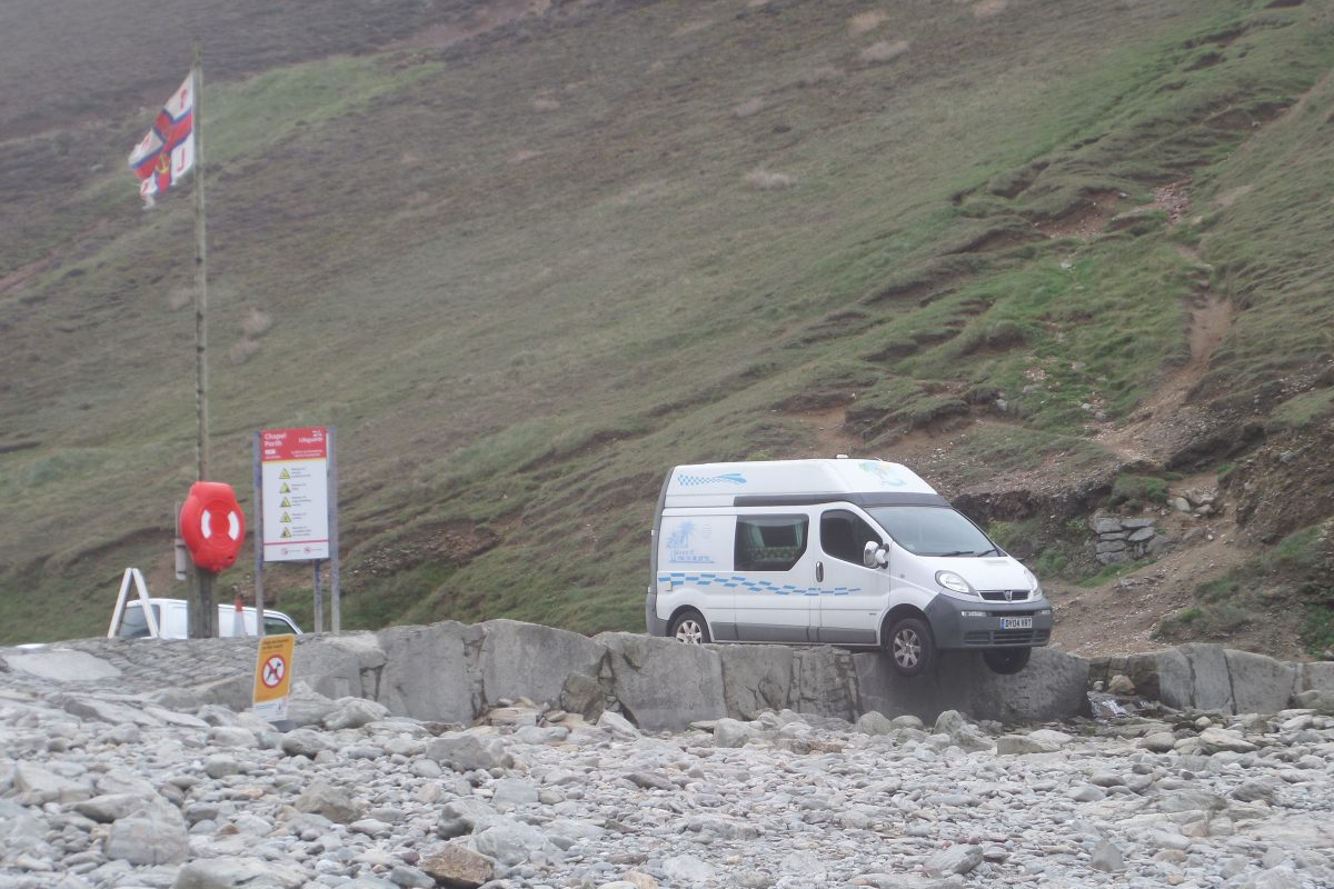 Vauxhall Camper in trouble at Chapel Porth Beach