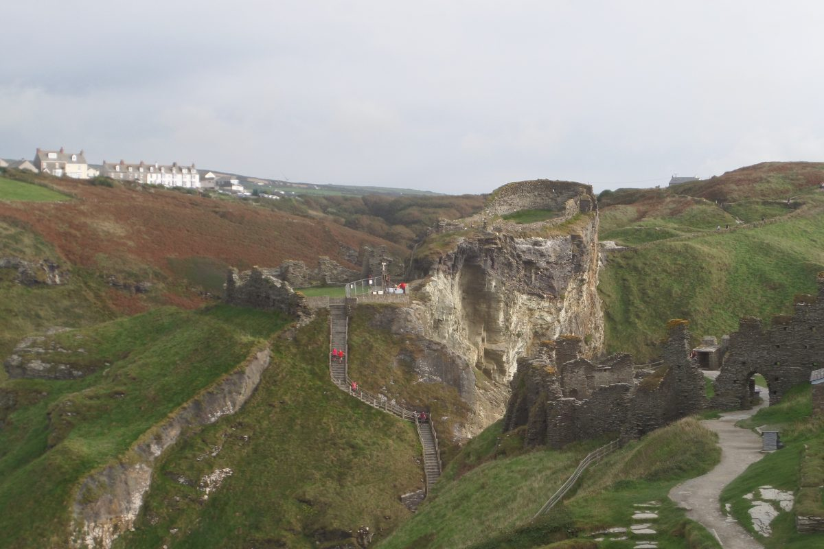 Tintagel Castle from the top of the Island looking inland