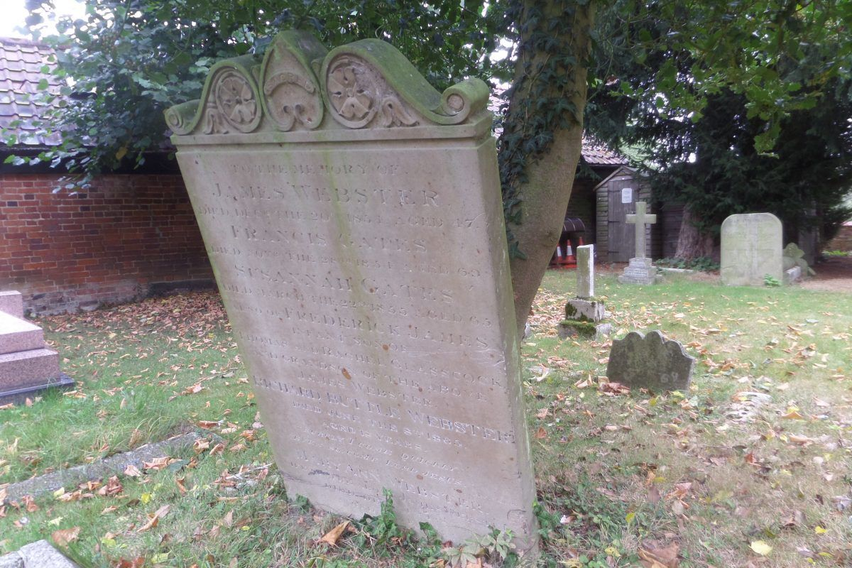James Websters crowded gravestone - there are three more people listed on the back!